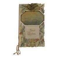Victorian Die Cut Christmas Booklet Card Unused Bells and Holly
