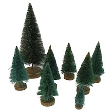 8 Bottle Brush Trees on Gold Painted Wood Bases Vintage Christmas