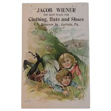 Victorian Trade Card Jack and Jill Nursery Rhyme Carlisle PA Store Jacob Wiener