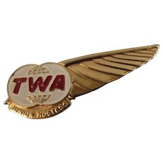 TWA Junior Hostess Embossed Gold Tone Pin Trans World Airlines Vintage