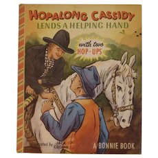 1950 Hopalong Cassidy Lends a Helping Hand With Two Hop-Ups Popup Childrens Book Pop Up Pop-up