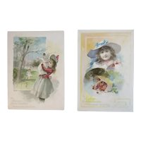 2 1891 Woolson Spice Lion Coffee Midsummer Greeting Advertising Trade Picture Cards Victorian Girls Baby