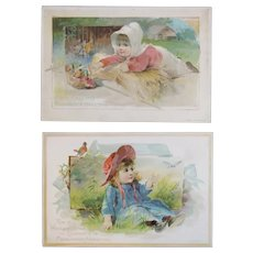 2 1891 Woolson Spice Lion Coffee Midsummer Greeting Advertising Trade Picture Cards Victorian Girls Farm Scene and Butterfly