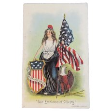 1909 Our Emblems of Liberty Postcard Julius Bien Lady with American Flag Eagle and Shield