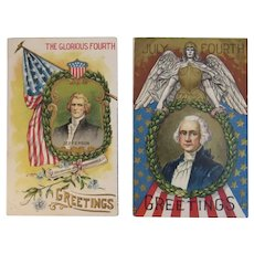 2 July 4th Postcards Jefferson and Washington The Glorious Fourth Greetings Patriotic American Flag
