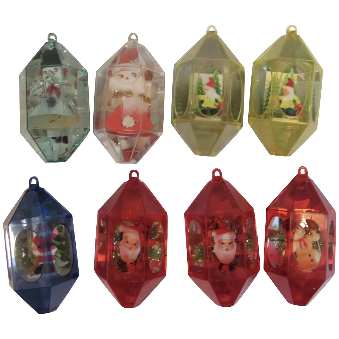 Christmas Diorama Ornaments.8 Vintage Diorama Christmas Ornaments 1950s Hard Plastic Jewel Brite Santas Snowmen Elves Elf Gnome Jewelbrite
