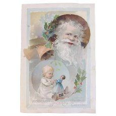 1891 Woolson Spice Christmas Greeting Old World Santa Baby Child with Doll Lion Coffee Advertising Trade Card Victorian