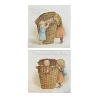 Hildesheimer Victorian Christmas and New Year's Cards Pair from Series 194 Children in Wicker Basket
