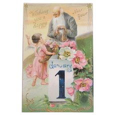 Tuck's Father Time with Hourglass New Year Postcard Edwardian Era Embossed Printed in Germany German Raphael Tuck & Sons