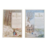 1877 Pair of Joseph Mansell Christmas and New Year Victorian Chromolithograph Cards