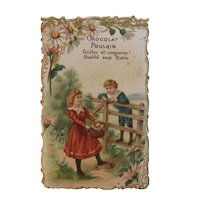 Victorian Chocolat Poulain Die Cut French Trade Card Children with Basket of Kittens Cats