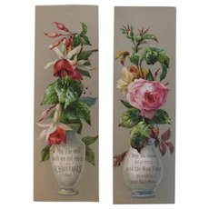 Pair of Victorian Christmas Floral Bookmarks Book Marks Flowers in a Vase