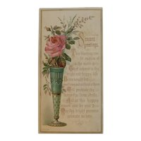 Victorian Christmas Card with Pink Rose in a Vase Embossed HF