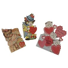 3 Kitty Cat Valentine Cards Valentine's Day Vintage