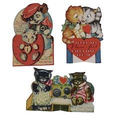 3 Kitty Cat Mechanical Valentine Cards Valentine's Day Vintage Radio