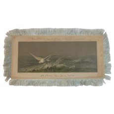 Victorian Silk Fringe New Year Card Seagull Ocean Scene Fringed