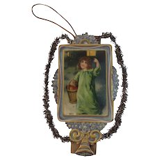 Victorian Die Cut Christmas Ornament With Tinsel Embossed Diecut