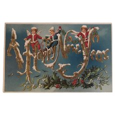 German New Year Postcard Embossed Unused Elf elves with Horse Shoes Horseshoes Germany