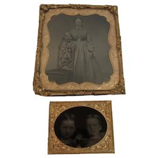 2 Tintypes Lady and Two Girls Mother Daughters Civil War Era Dress Photo Photographs