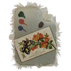 Victorian Silk Fringe New Year Card Puffed Puffy Fringed Artist Palette Shaped Butterfly and Flowers
