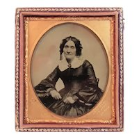 J.R Aull Artist Ambrotype of Lady in Civil War Era Dress Cuttings Pat Patent 1854 Photo Photograph Photographer