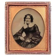 J.R Aull Artist Ambrotype of Lady in Civil War Era Dress Cuttings Pat Patent 1854 Photo Photograph Photographer