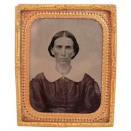 Ambrotype of Lady in Civil War Era Dress Photo Photograph 1/9 Plate