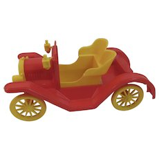 Empire Plastics Red and Yellow Convertible Touring Car Automobile Red and Yellow