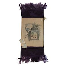 1880 Victorian Christmas Card Egyptian Revival with Purple Silk Damask Backing and Fringe Engraving by A.W. Robinson