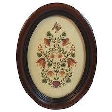 Pennsylvania Folk Art Fraktur Artist Signed Meryl Griffiths of Lancaster PA Butterfly and Tulips Dutch Motif