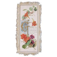 Victorian Silk Fringe Religious Card Daisy Daisies Flowers Fringed Bible Passage