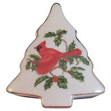 Lefton China Cardinal and Holly Christmas Tree Trinket Box