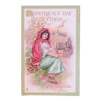 Tuck's St. Patrick's Day Postcard My Own Little Colleen Raphael Tuck & Sons German Saxony Irish Girl and Donkey Cart