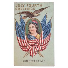 July Fourth Greetings Postcard Lady Liberty Forever American Flags and Eagle