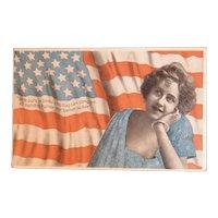 Patriotic American Flag Postcard Lady Undivided Back Arthur Livingston