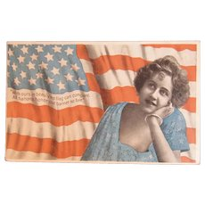 Patriotic American Flag Postcard Lady Undivided Back Arthur Livingston