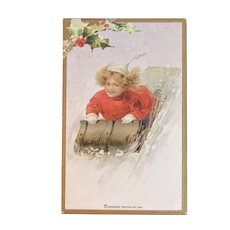 Dennison's Christmas Postcard Post Card Fun Sledding Undivided Back