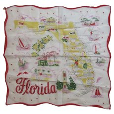 Florida Souvenir State Hanky Handkerchief Vintage Cotton Scalloped Edge