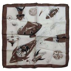 Childs Spaceship Rocket Robot Hanky Handkerchief Vintage Cotton