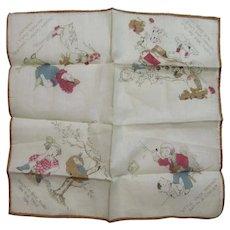 Childs Nursery Rhyme Hanky Handkerchief Vintage Cotton