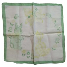 Childs Easter Rabbit and Chick Hanky Handkerchief Vintage Cotton