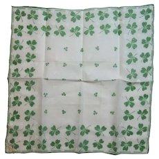 Burmel St. Patrick's Day Hanky Handkerchief Vintage Cotton Shamrocks Paper Label