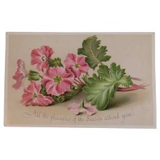 Victorian Christmas Card with Pink Flowers and Greeting