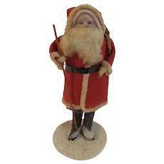 1930s Santa with Celluloid Face Composition Boots on Paper Mache Base with Pack and Staff Japan