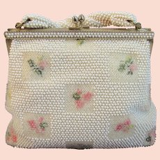 1960s Lumared Petite Bead Beaded Purse with Embroidered Roses Petite-Bead