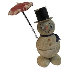 US Zone Germany Snowman Candy Container Umbrella Mica Flocked Paper Mache Chenille Spun Cotton German Post WWII