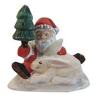 Vintage Paper Mache Santa Claus and Bunny Rabbit Clauskins Oscar Clauskin
