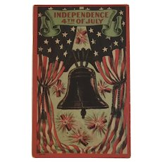 Independence Day 4th of July Postcard with Liberty Bell and Firecrackers