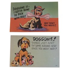 Humorous Dog Postcards Unused Puppy Puppies Asheville Post Card Co