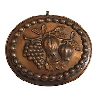 Large Vintage Copper Culinary Mold with Fruit Design